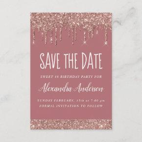 Rose Gold Sparkle Glitter Sweet 16 Save the Date Invitation