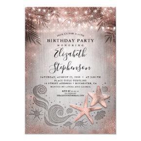 Rose Gold Starfish Tropical Beach Lights Birthday Invitation