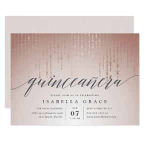 Rose Gold String Lights Quinceanera Invitation