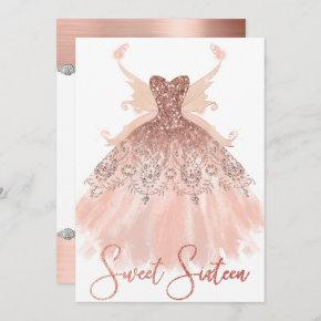 Rose Gold Sweet 16 Glitzy Sparkle Glam Gown Wings Invitation
