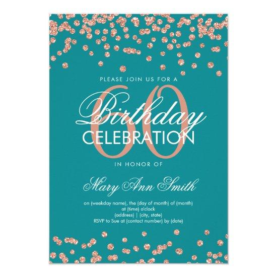 Rose Gold Teal 60th Birthday Glitter Confetti Invitations Candied