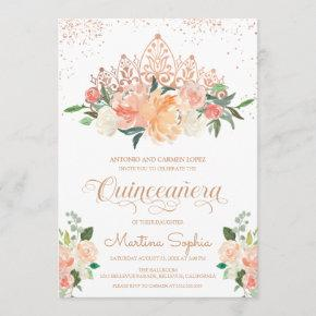 Rose Gold Tiara & Blush Pink Florals Quinceanera Invitation