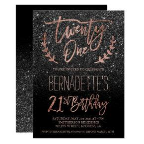 Rose gold typography black glitter 21st Birthday Card