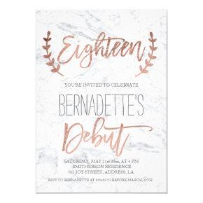 Rose gold typography debut marble 18th Birthday Invitations