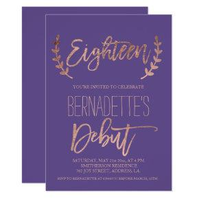 Rose gold typography debut purple 18th Birthday Invitations