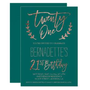 Rose Gold Typography Feathers Green 21st Birthday Invitations