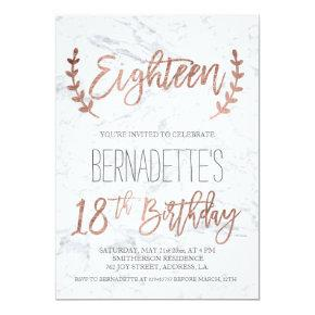 Rose Gold Typography Feathers Marble 18th Birthday Invitations