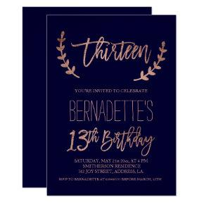 Rose gold typography feathers navy 13th Birthday Invitation