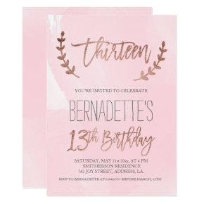 Rose gold typography feathers pink 13th Birthday Invitation