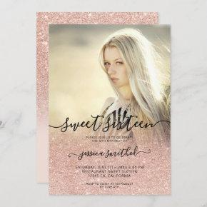 Rose gold typography pink ombre Sweet 16 photo Invitation