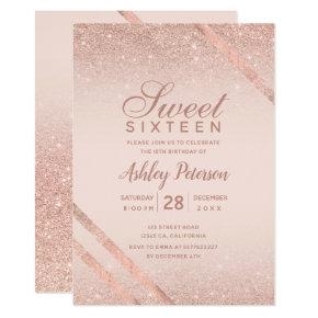 Rose gold typography stripe glitter blush Sweet 16 Invitation