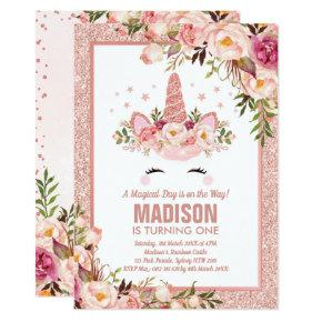 Rose Gold Unicorn Magical Birthday Party Invitation