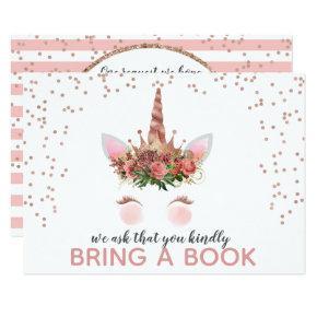 Rose Gold Unicorn Princess Bring A Book Invitation