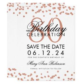 Rose Gold White 80th Birthday Save Date Confetti Invitation
