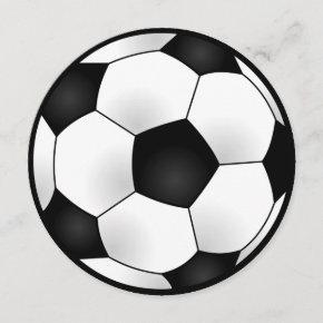 Round Soccer Birthday Party Invitation