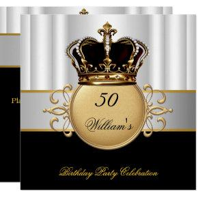 Royal Black White Gold Birthday Prince King Invitations