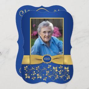 Royal Blue and Gold 65th Photo Birthday Invitation