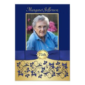 Royal Blue and Gold 75th Photo Birthday Invitation