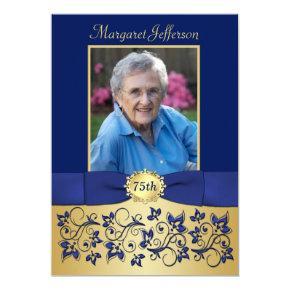 Royal Blue and Gold 75th Photo Birthday Invitations