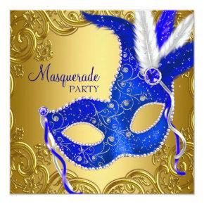 Royal Blue and Gold Masquerade Party Invitations