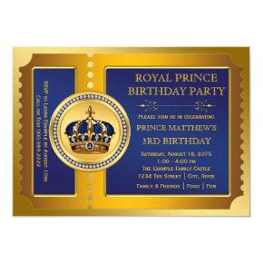 Royal Blue and Gold Prince Birthday Party Invitations