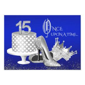 Royal Blue and Silver Quinceanera Invitations