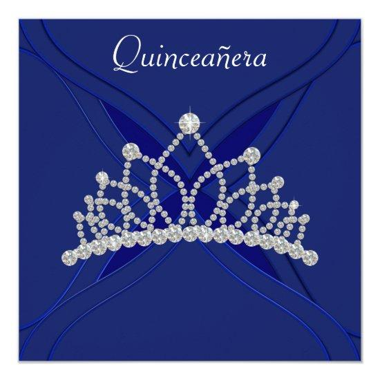 Royal Blue and White Quinceanera Invitations Candied Clouds