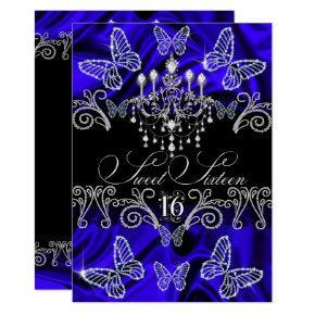 Royal Blue Diamond Butterfly Sweet Sixteen Invite