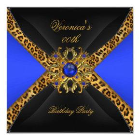 Royal Blue Gold Black Leopard Jewel Birthday Party Invitations