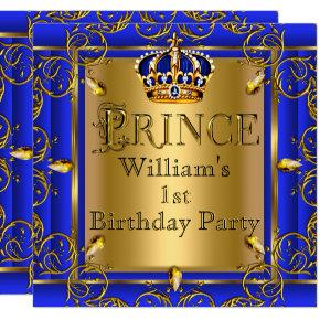 Royal Blue Gold Crown Prince 1st Birthday Boys 2 Invitations