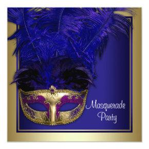 Royal Blue Gold Masquerade Party