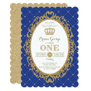 Royal Blue Gold Prince Baby Boy 1st Birthday Party Invitations