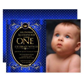 Royal Blue Gold Prince Photo First Birthday Party Invitation