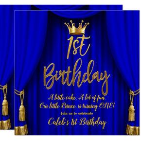 Royal Blue & Gold Royal Crown Prince 1st Birthday Invitation
