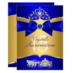 Royal Blue Gold Tiara Pearl Bow Quinceanera Invitation
