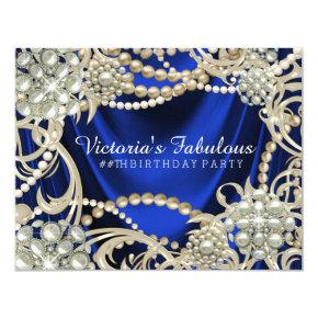 Royal Blue Ivory Pearl Birthday Party Invitations