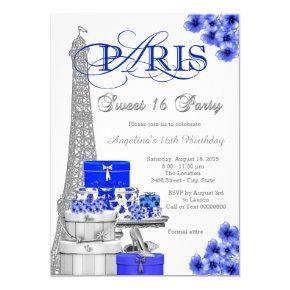 Royal Blue Paris Sweet 16 Party Invitation