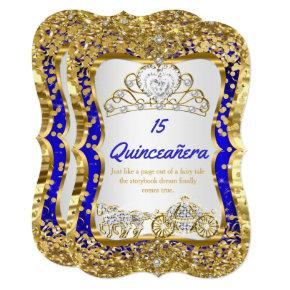 Royal Blue Quinceanera Magical Tiara Gold Invitation