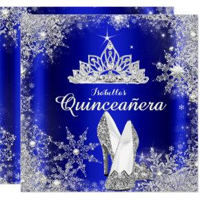 Royal Blue Quinceanera Silver Tiara 15th Birthday Invitations