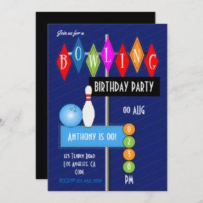 Royal Blue Retro Bowling Birthday Party Invitation