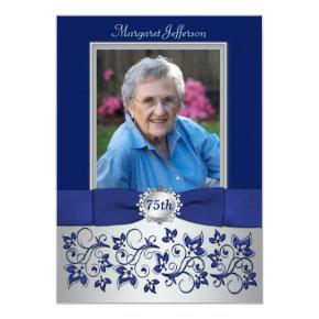 Royal Blue, Silver 75th Photo Birthday Invitation