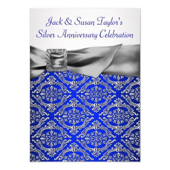 royal blue silver damask silver 25th anniversary invitations