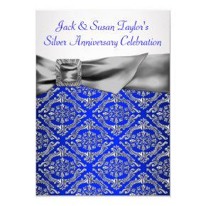 Royal Blue Silver Damask Silver 25th Anniversary Invitations