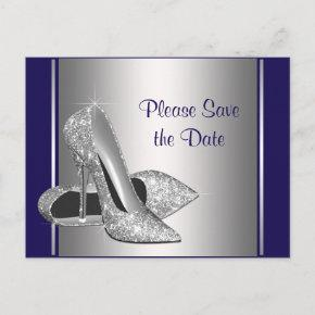 Royal Blue Silver High Heel Shoe Save The Date Announcement Postcard