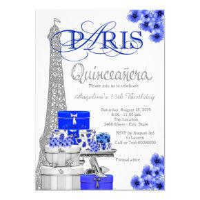 Royal Blue Silver Paris Quinceanera Invitations