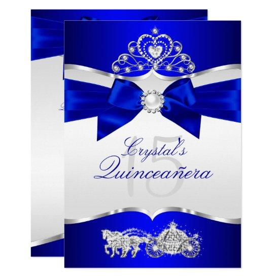 royal blue silver tiara pearl bow quinceanera card candied clouds