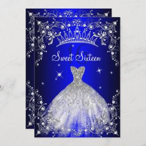 Royal Blue Sweet 16 Silver Pearl Dress party Invitation