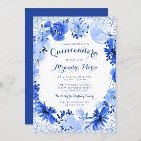 Royal Blue Watercolor Floral Quinceanera Invitation