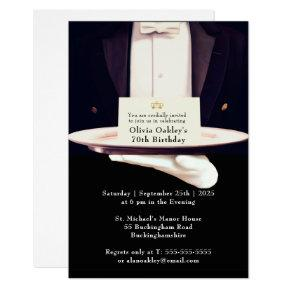 Royal Butler Silver Platter Birthday Party Invitation