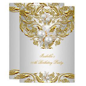 Royal Gold on White Pearl Elegant Birthday Party Invitations